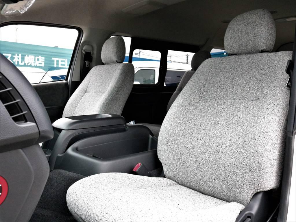 ふかふかで気持ちの良い素材で長時間の運転も疲れにくいですよ!   トヨタ ハイエース 2.7 GL ロング ミドルルーフ 4WD ROOMCAR02