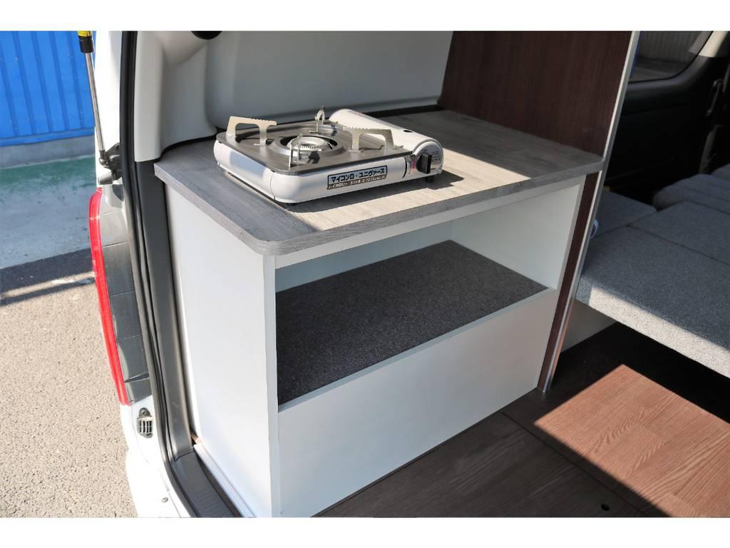 専用ガスコンロ設置可能♪ | トヨタ ハイエース 2.7 GL ロング ミドルルーフ 4WD ROOM CAR01