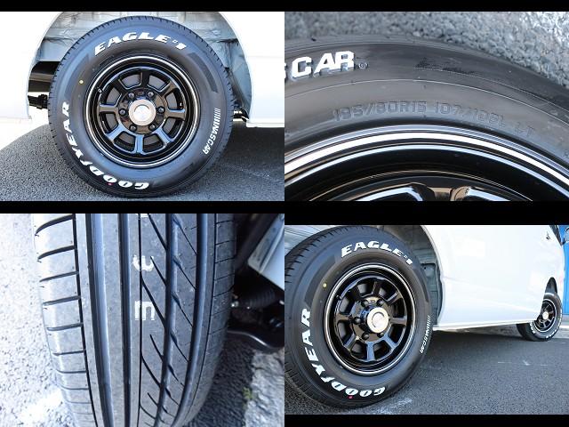 ラディアンス デイトナR2ブラック×ホワイト15インチホイール&GOODYEARナスカータイヤ装備!! | トヨタ ハイエース 2.7 GL ロング ミドルルーフ 4WD ROOM CAR01