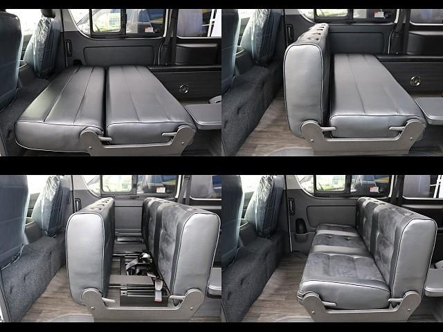 シートのアレンジもご覧の通り簡単です♪リクライニング、後ろ向き、フラット♪ | トヨタ ハイエースバン 3.0 スーパーGL ダークプライム ロングボディ ディーゼルターボ 4WD Ver8 小窓付