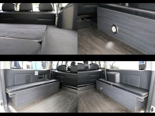 ベットマット・家具・フロア施工もダークプライム仕様にマッチしております!! | トヨタ ハイエースバン 3.0 スーパーGL ダークプライム ロングボディ ディーゼルターボ 4WD Ver8 小窓付