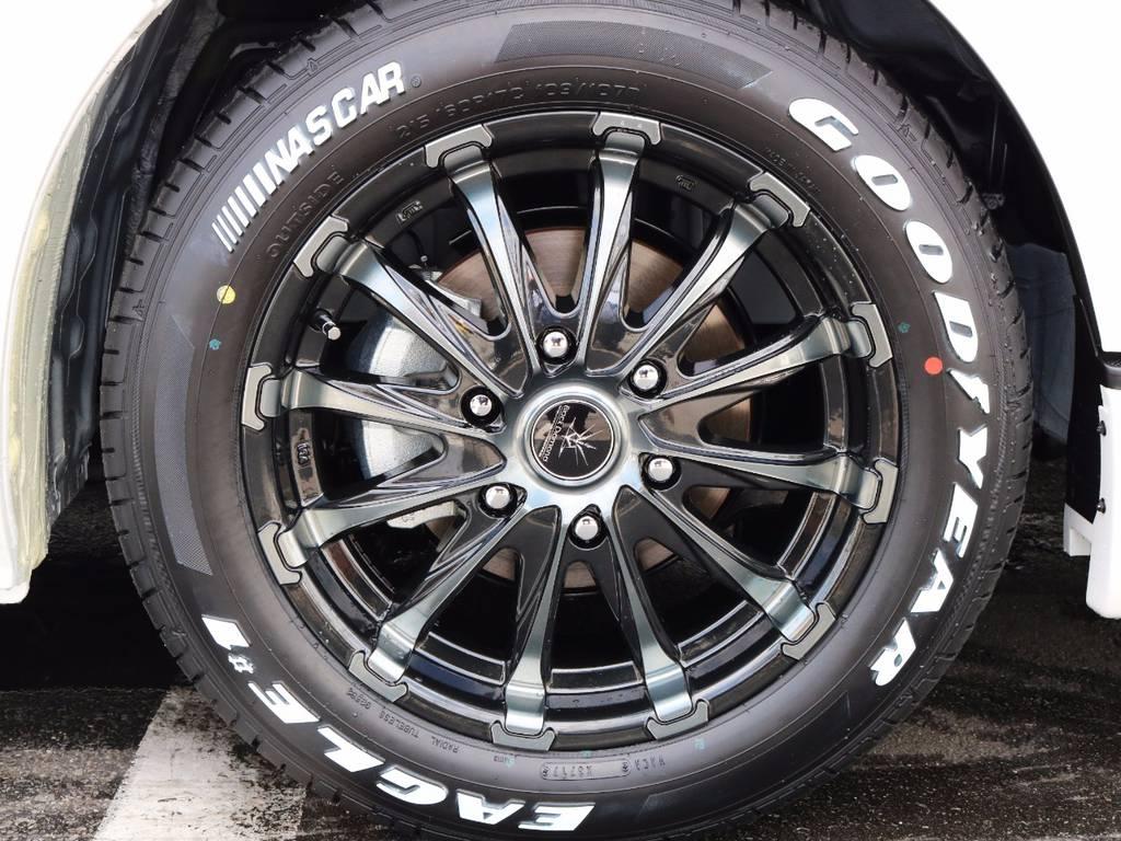 ブラックダイヤモンド17インチアルミホイール、ナスカータイヤ! | トヨタ ハイエース 2.7 GL ロング ミドルルーフ 4WD ROOM CAR 02