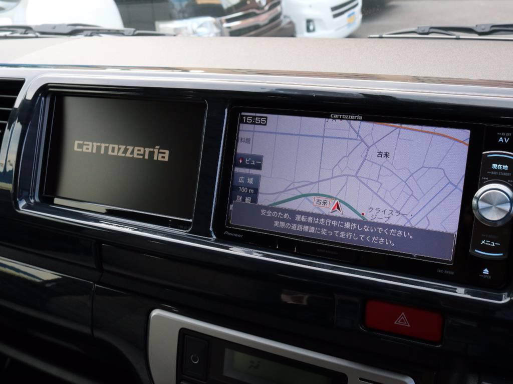カロッツェリア製SDナビ、フルセグTV、DVD再生可能です!カロッツェリア製サイドモニター! | トヨタ ハイエース 2.7 GL ロング ミドルルーフ 4WD ROOM CAR 02