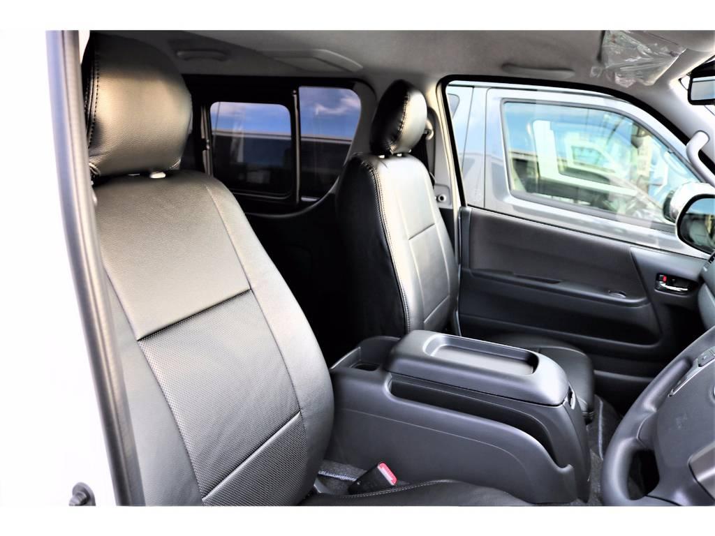 全席FLEXオリジナルシートカバー装着済みです!高級感があり、お手入れもし易くなっております! | トヨタ ハイエースバン 2.0 スーパーGL ロング ver.4 STD