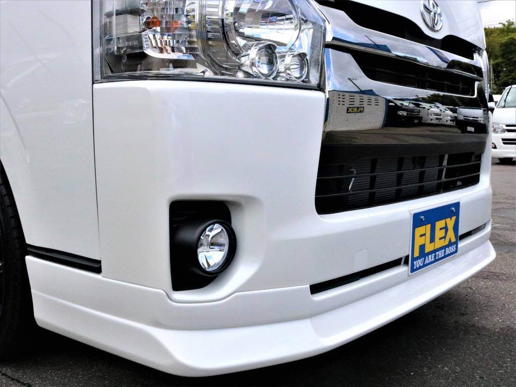 Delfino Lineフロントスポイラー! | トヨタ ハイエースバン 3.0 スーパーGL ダークプライム ロングボディ ディーゼルターボ 4WD バージョン8内装架装