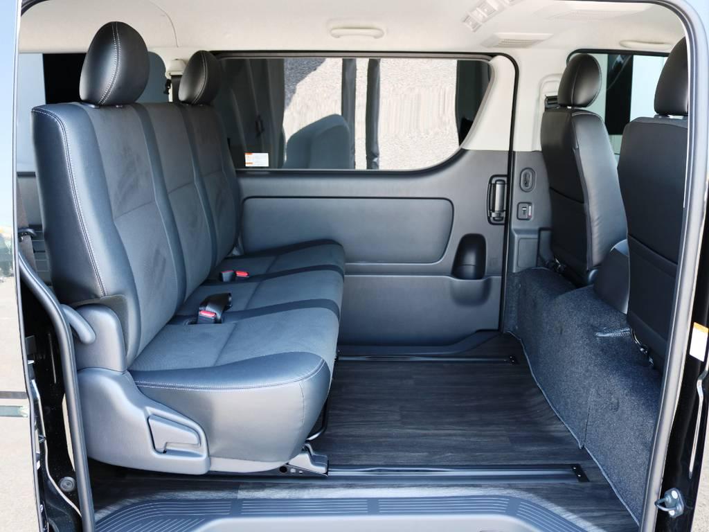 セカンドシートは3人掛けハーフレザーシート! | トヨタ ハイエースバン 2.0 スーパーGL ロング ダークプライムアレンジFU-Nスライド
