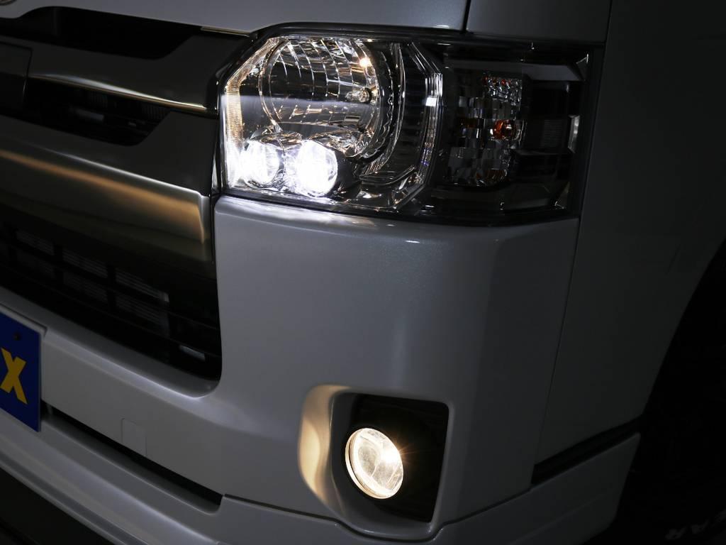 ダークプライム専用装備 クリアスモークLEDヘッドライト! | トヨタ ハイエースバン 2.0 スーパーGL ロング ダークプライムアレンジFU-Nスライド