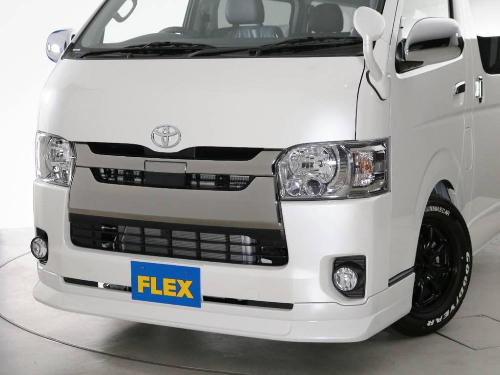 FLEXオリジナル フロントリップスポイラー Delfino Line♪ | トヨタ ハイエースバン 2.0 スーパーGL ロング ダークプライムアレンジFU-Nスライド