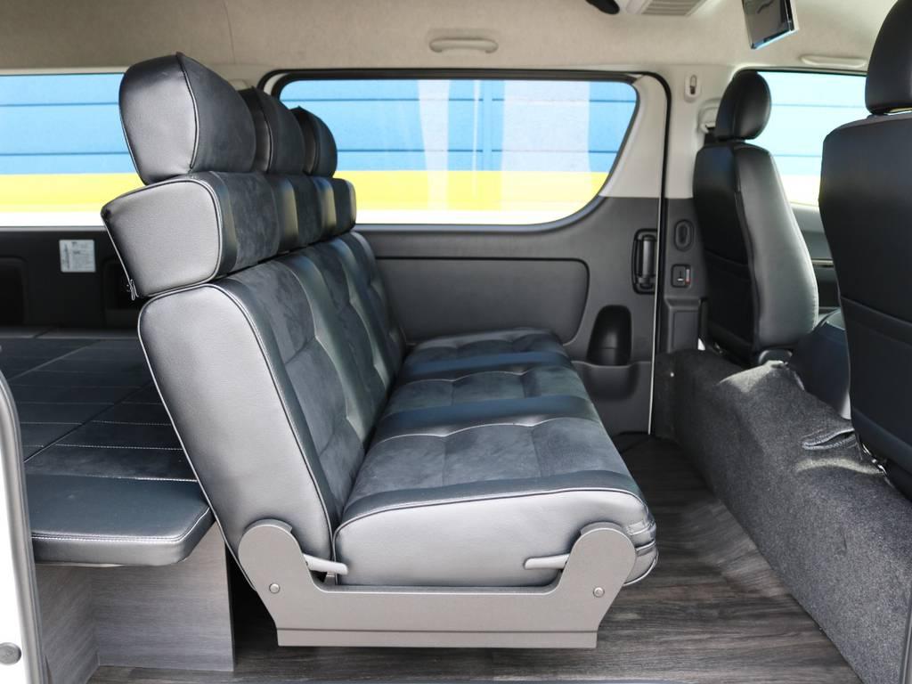 セカンドシートは1400幅の3人乗りベンチシート!フラット展開・後方向き展開が可能な優れもの♪   トヨタ ハイエースバン 2.7 スーパーGL ワイド ロング ミドルルーフ 4WD ダークプライム アレンジVer8