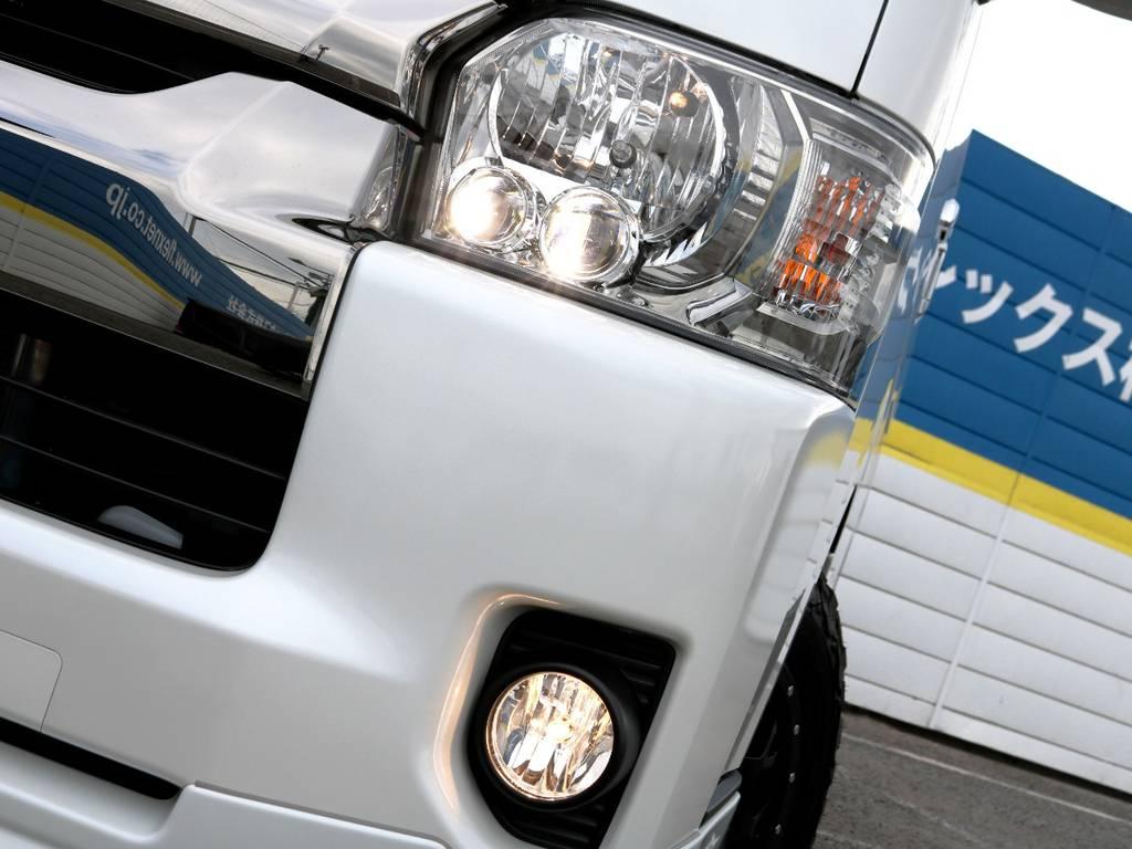 ダークプライム専用装備 クリアスモークLEDヘッドライト!   トヨタ ハイエースバン 2.7 スーパーGL ワイド ロング ミドルルーフ 4WD ダークプライム アレンジVer8