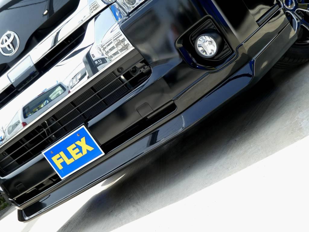 Delfino Line スポイラーがフロントフェイスを引き締めます!!   トヨタ ハイエース 2.7 GL ロング ミドルルーフ TSS付Ver2