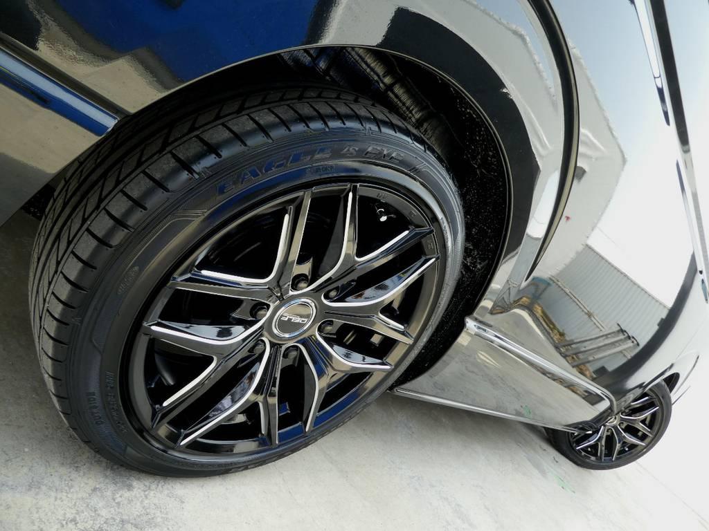 DELF01ブラックミーリング18インチアルミ グッドイヤーLS EXEをセット!!   トヨタ ハイエース 2.7 GL ロング ミドルルーフ TSS付Ver2