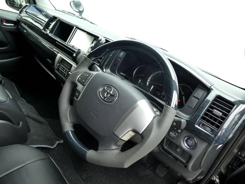 ガングリップコンビステアリングは操作するのが楽しくなりますよ!!   トヨタ ハイエース 2.7 GL ロング ミドルルーフ TSS付Ver2