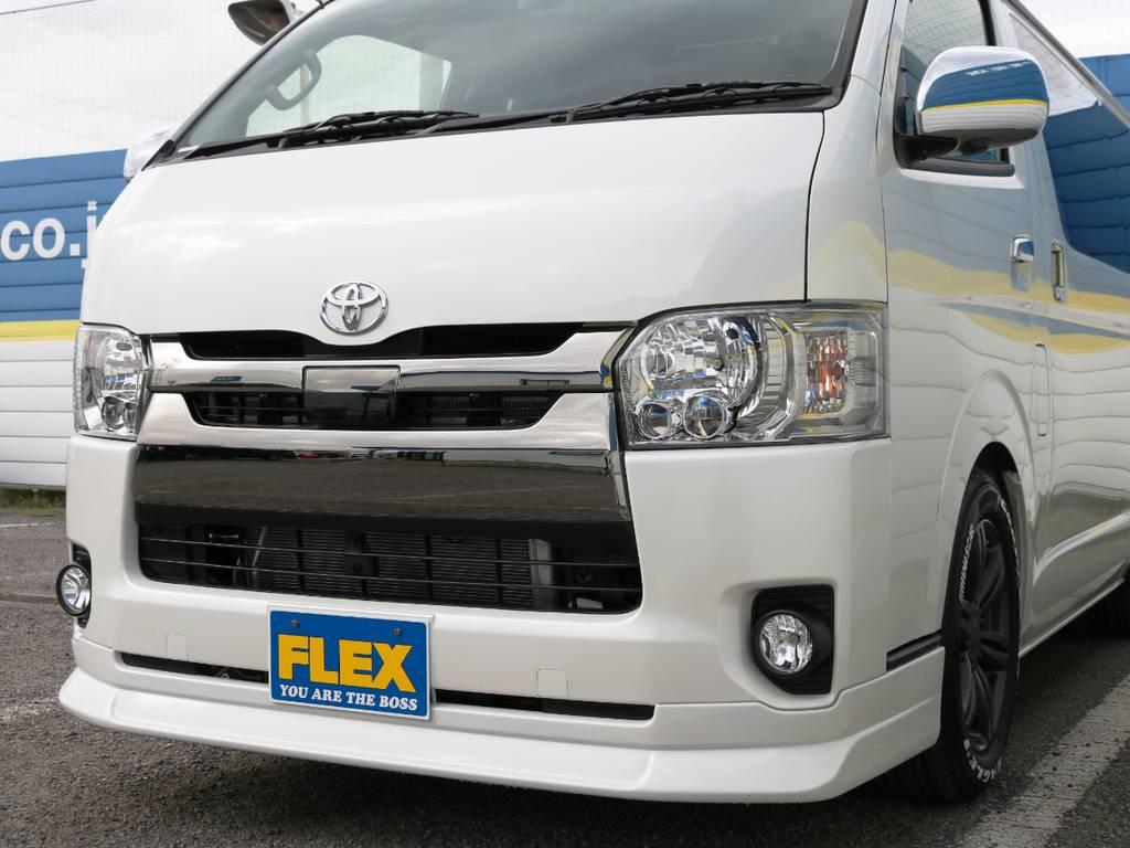 FLEXオリジナル フロントリップスポイラー Delfino Line+コーナースムージングコーナーパネル! | トヨタ ハイエースバン 2.0 スーパーGL ロング ダークP TSS付Ver4D/P