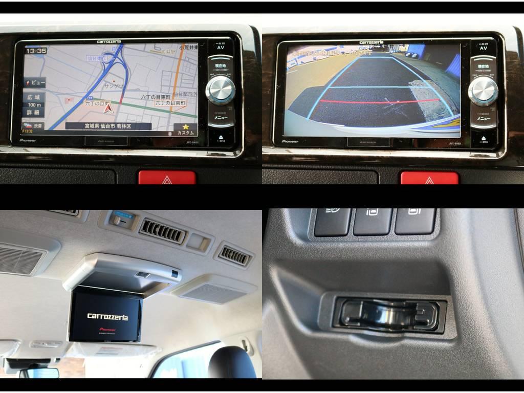 カロッツェリアフルセグSDナビRW801・Bカメラ映像分配加工・ETC・フリップダウンモニター装着
