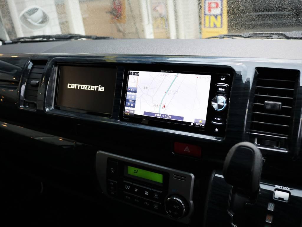 カロッツェリア製SDナビ、フルセグTV、DVD再生可能です! | トヨタ ハイエース 2.7 GL ロング ミドルルーフ 4WD 内装アレンジR1 新型