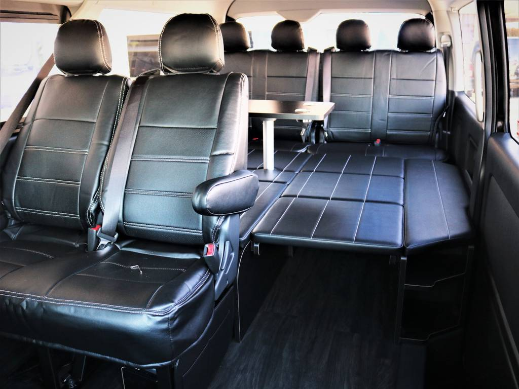 FLEXオリジナル内装アレンジR1!ベッドキット、センターテーブル、フローリング! | トヨタ ハイエース 2.7 GL ロング ミドルルーフ 4WD 内装アレンジR1 新型