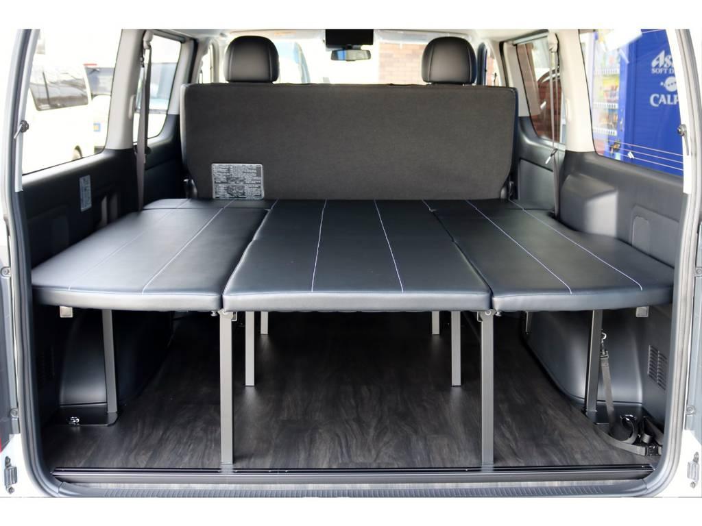 広々としたベッドスペース! | トヨタ ハイエースバン 2.7 スーパーGL ワイド ロング ミドルルーフ 4WD ダークP FU-Wスライド TSS付き