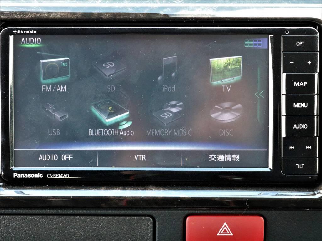 パナソニックストラーダSDナビ!ブルートゥースで音楽も聴けますよ! | トヨタ ハイエースバン 2.7 スーパーGL ワイド ロング ミドルルーフ 4WD ダークP FU-Wスライド TSS付き