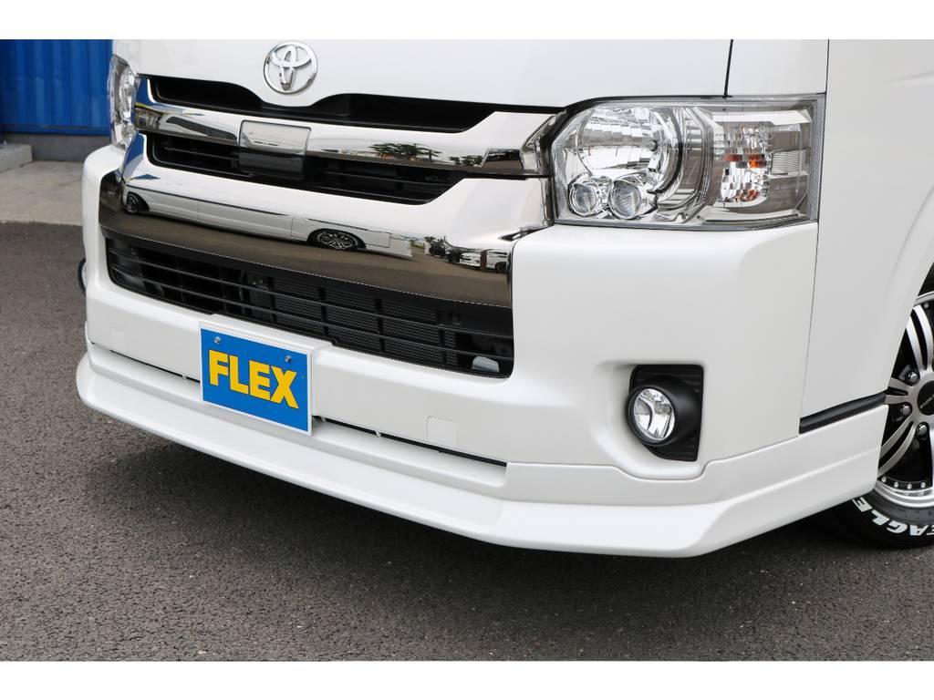FLEXオリジナル【DelfinoLIne】フロントリップスポイラー! | トヨタ ハイエースバン 2.7 スーパーGL ワイド ロング ミドルルーフ 4WD ダークP FU-Wスライド TSS付き
