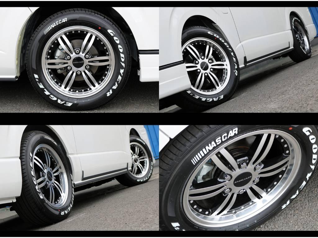バッドラッカー24ポイント17in/ナスカータイヤ! | トヨタ ハイエースバン 2.7 スーパーGL ワイド ロング ミドルルーフ 4WD ダークP FU-Wスライド TSS付き