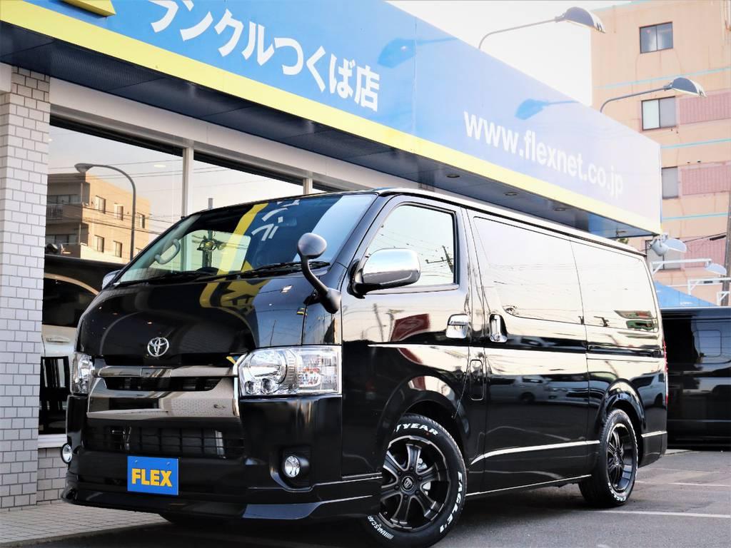 新車未登録ハイエースVスーパーGL、特別仕様車ダークプライム!FLEXオリジナル内装VER4、ベッドキット、フローリング施工♪