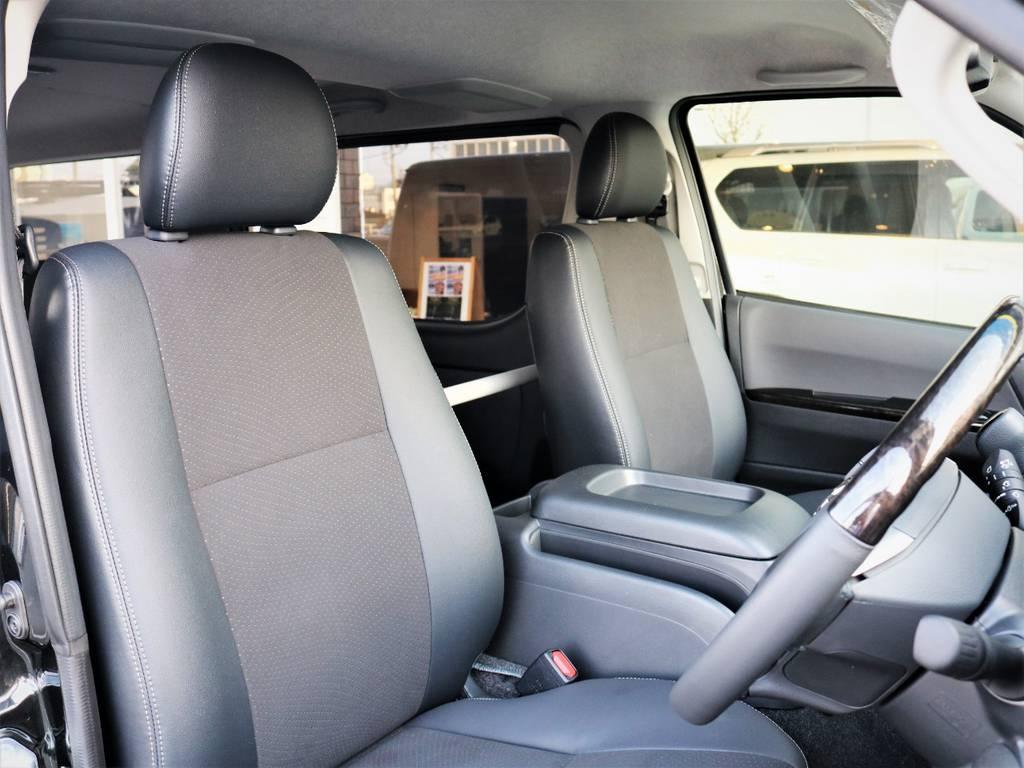 運転席シート、専用ハーフレザーシート! | トヨタ ハイエースバン 2.0 スーパーGL ロング ダークプライム 新型 VER4