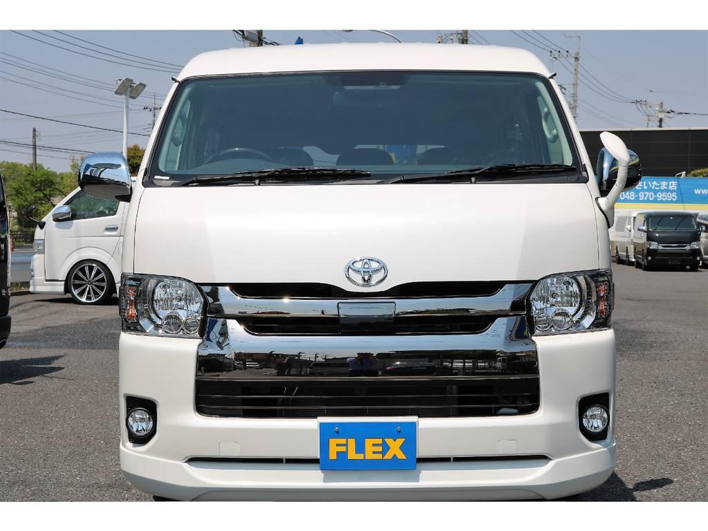 ハイエースの事ならFLEXハイエースさいたま店にお任せください!アフターサービスも頑張ります!   トヨタ ハイエースバン 2.7 スーパーGL ワイド ロング ミドルルーフ 4WD ダークP TSS Ver.8