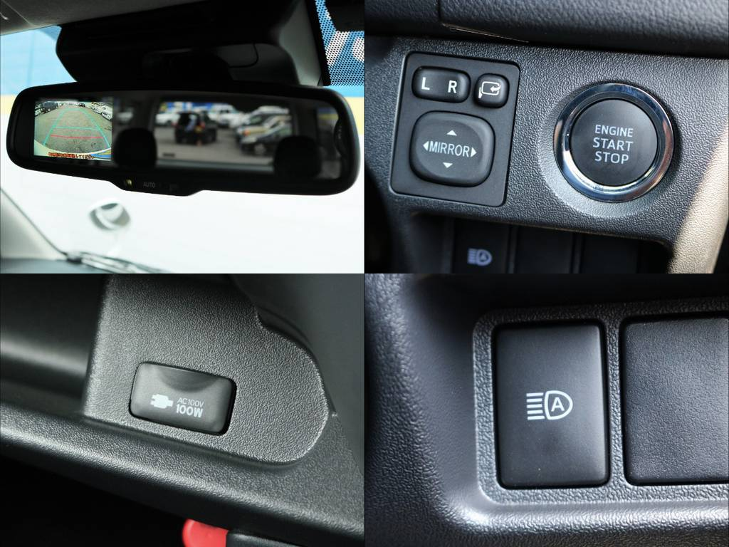 バックカメラ内臓自動防眩ミラーやプッシュスタート、100V電源も装着されています! | トヨタ ハイエースバン 2.8 スーパーGL ロング ディーゼルターボ 4WD ダークP TSS付・寒冷地