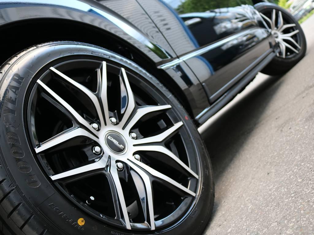 FLEXオリジナル【Delf01】ブラックポリッシュアルミホイール!走行中のシルエットが特にかっこいいですよ! | トヨタ ハイエース 2.7 GL ロング ミドルルーフ 4WD ファインテックツアラー