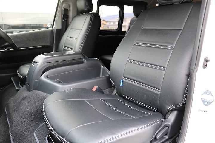 FLEXオリジナル黒皮調シートカバー装着済み | トヨタ ハイエース 2.7 GL ロング ミドルルーフ 4WD TSS付 R-1