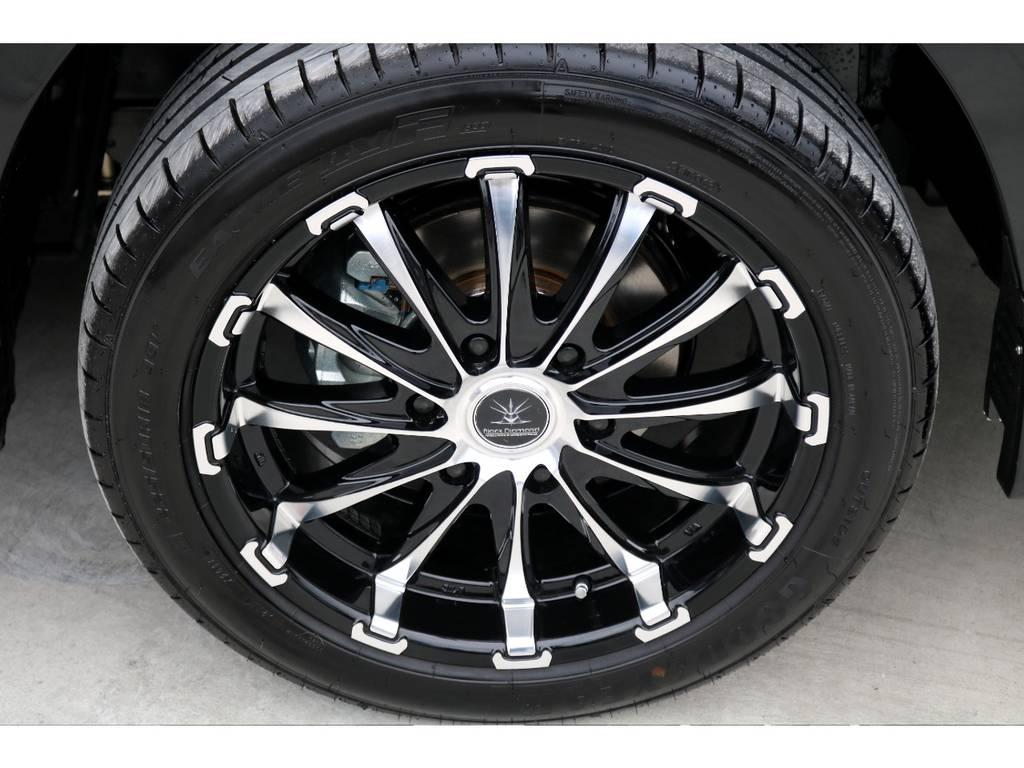 足元にはブラックダイヤモンド 18インチアルミをチョイス!! | トヨタ ハイエース 2.7 GL ロング ミドルルーフ 4WD TSS付 アレンジR1