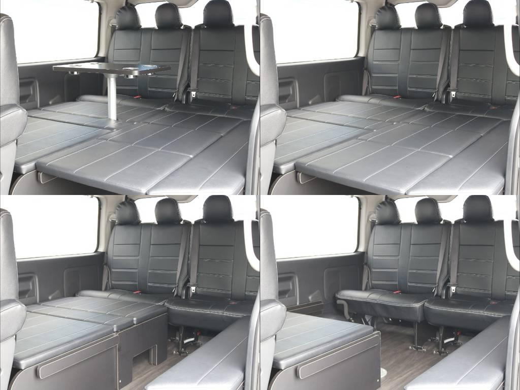 FLEXオリジナルシートアレンジR1!用途に合わせ様々なアレンジが可能です! | トヨタ ハイエース 2.7 GL ロング ミドルルーフ 4WD TSS付 アレンジR1 トリプルモニター