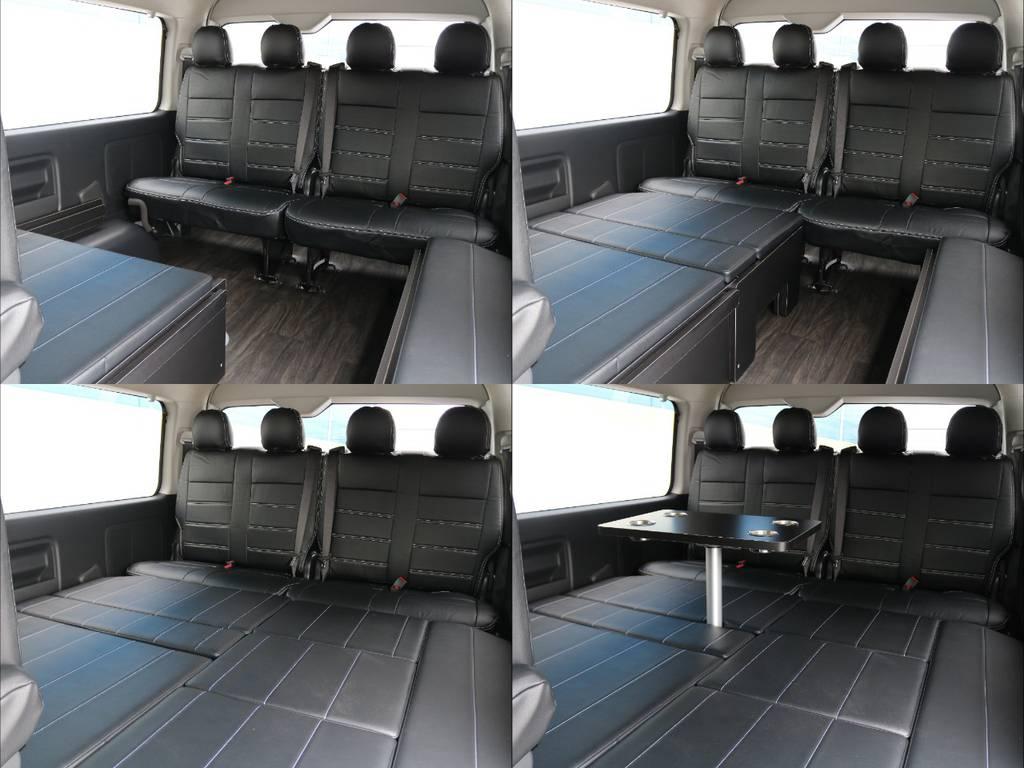 脱着が可能な室内テーブル!食事の際や作業をしたりトランプで遊んだり...あると大変便利です! | トヨタ ハイエース 2.7 GL ロング ミドルルーフ 4WD TSS付 アレンジR1 トリプルモニター
