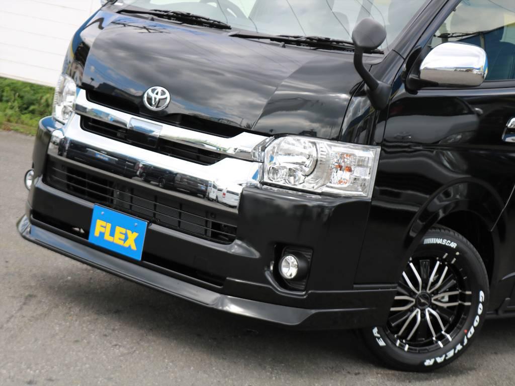 迫力のあるFLEXオリジナルDelfino Lineフロントスポイラー♪ | トヨタ ハイエース 2.7 GL ロング ミドルルーフ 4WD TSS付 アレンジR1 トリプルモニター