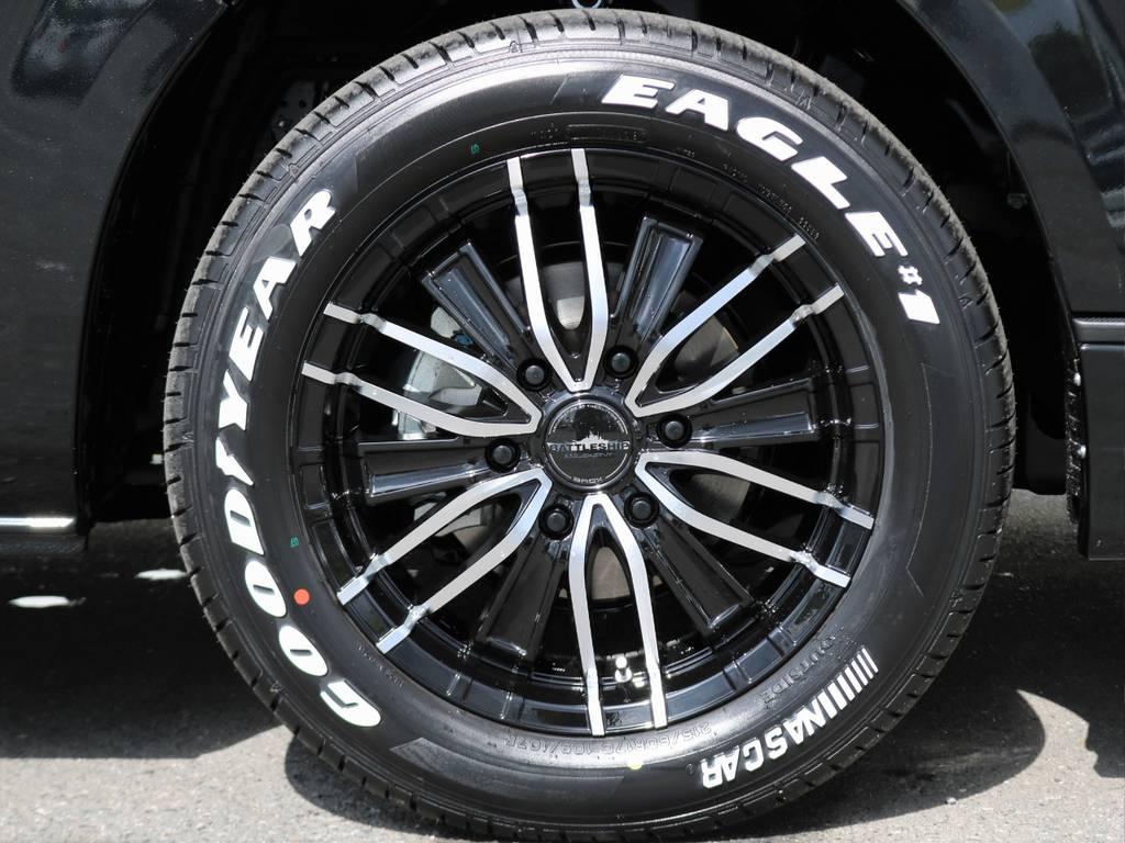 632バトルシップ3 17インチアルミホイールにグッドイヤーナスカーホワイトレタータイヤ! | トヨタ ハイエース 2.7 GL ロング ミドルルーフ 4WD TSS付 アレンジR1 トリプルモニター