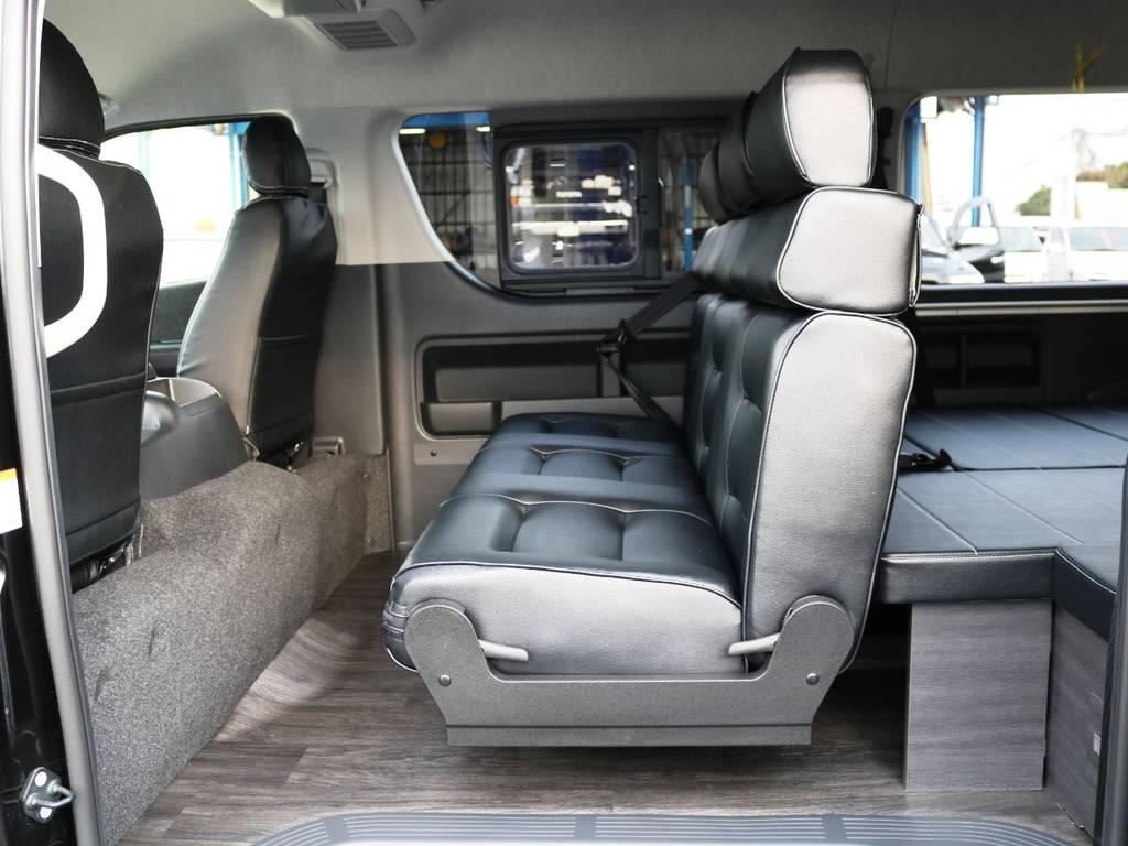 セカンドシートは1400幅 オリジナル3人掛けシート♪ | トヨタ ハイエース 2.7 GL ロング ミドルルーフ TSS付 内装アレンジVer2