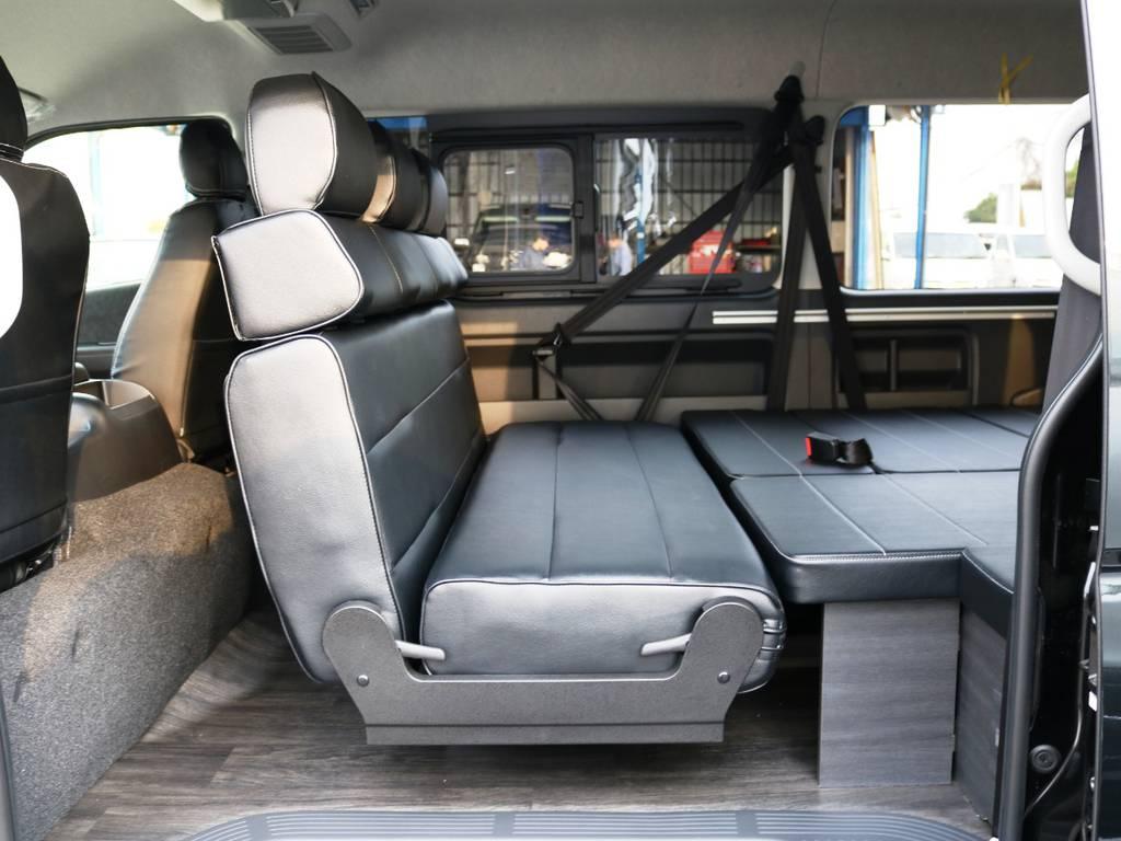 セカンドシートは後ろ向き展開が可能です! | トヨタ ハイエース 2.7 GL ロング ミドルルーフ TSS付 内装アレンジVer2
