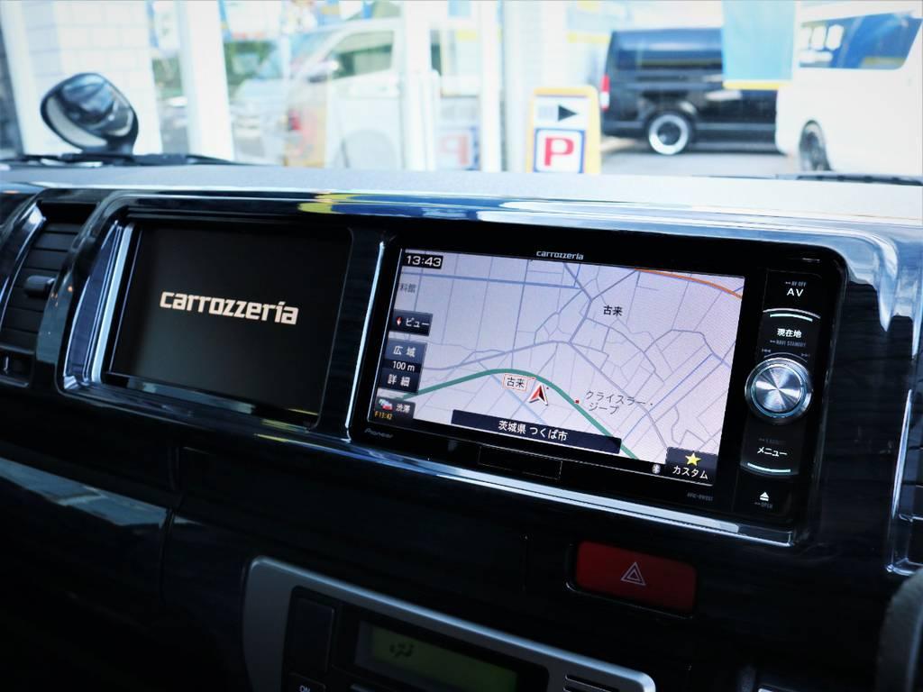 カロッツェリア製SDナビ、フルセグTV、DVD再生可能!カロッツェリア製サイドモニター! | トヨタ ハイエース 2.7 GL ロング ファインテックツアラー キャプテンシート