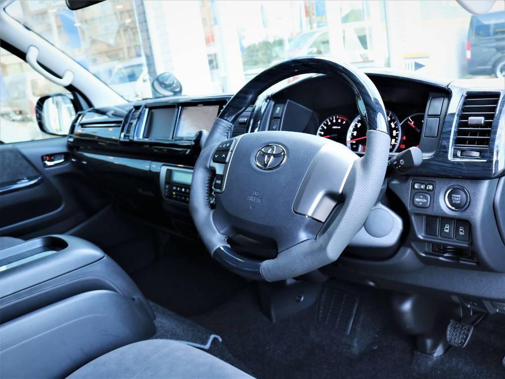 黒木目ステアリング、シフトノブ! | トヨタ ハイエース 2.7 GL ロング ファインテックツアラー キャプテンシート