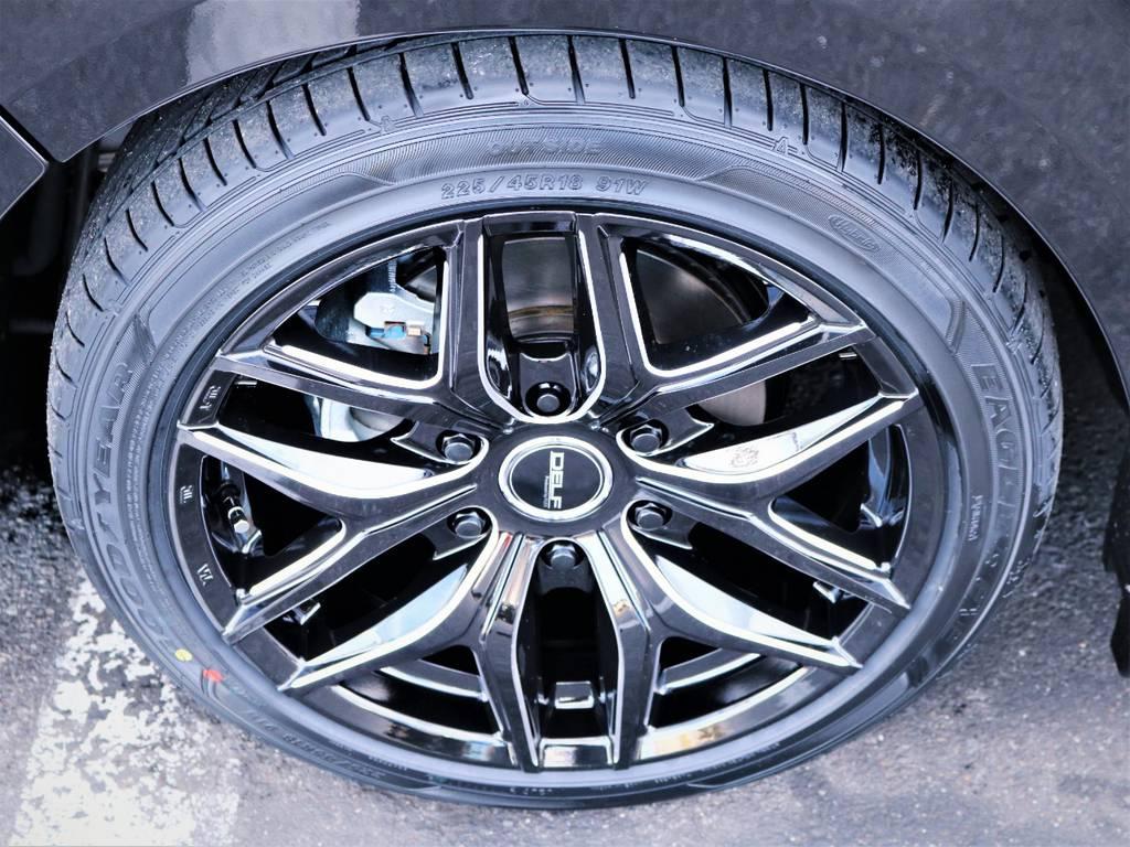 デルフ01ブラックミーリング18インチアルミホイール、国産グットイヤータイヤ! | トヨタ ハイエース 2.7 GL ロング ファインテックツアラー キャプテンシート