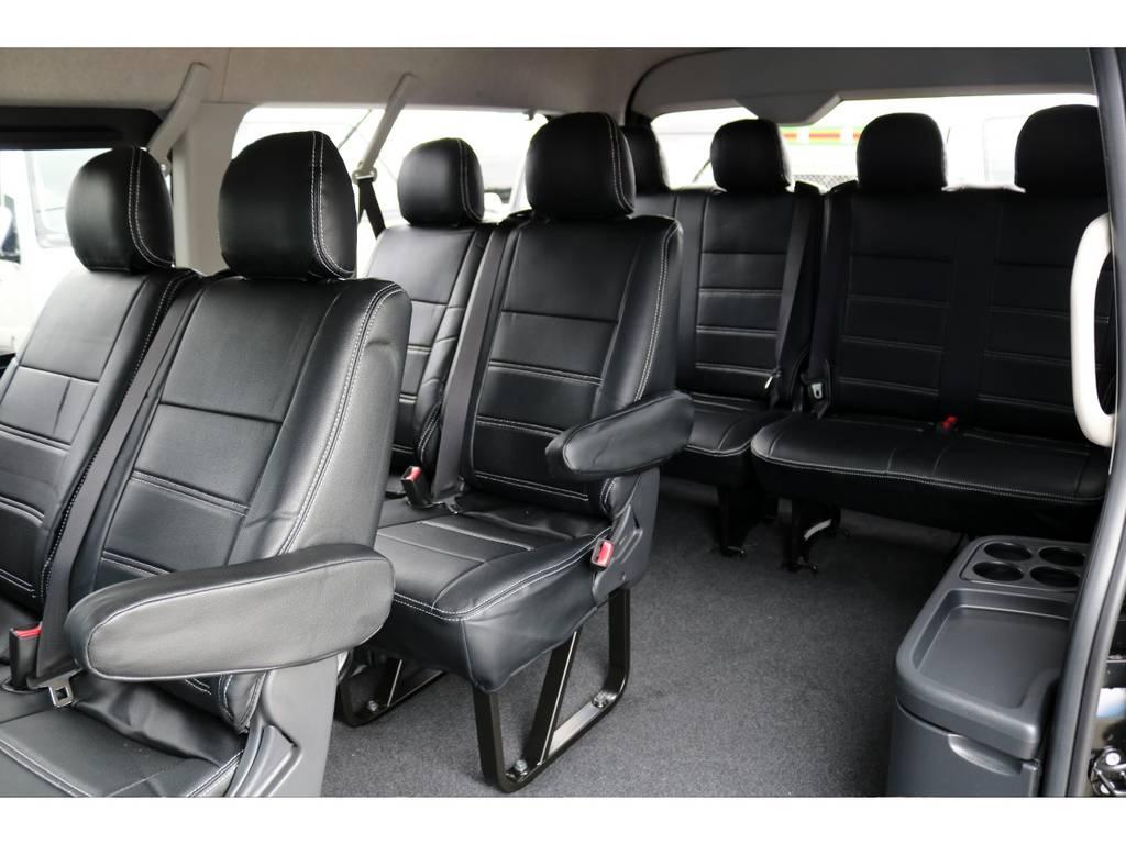 オリジナル黒レザー調シートカバー! | トヨタ ハイエース 2.7 GL ロング ミドルルーフ 4WD TSS付ナビパッケージ