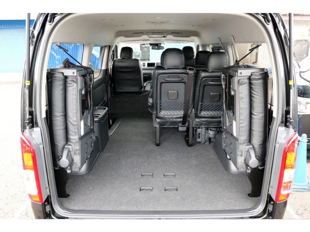 最後列を跳ね上げれば荷物もタップリ積めます! | トヨタ ハイエース 2.7 GL ロング ミドルルーフ 4WD TSS付ナビパッケージ