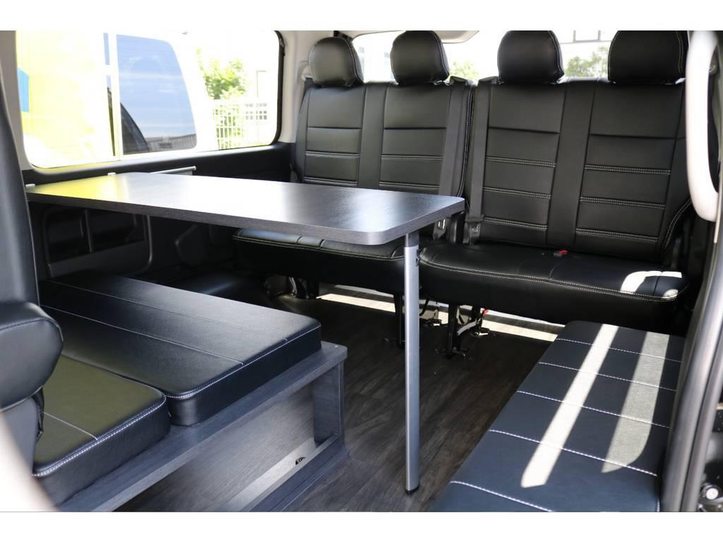 テーブルもあるので車内で食事もできます♪   トヨタ ハイエース 2.7 GL ロング ミドルルーフ TSS付 アレンジVer1