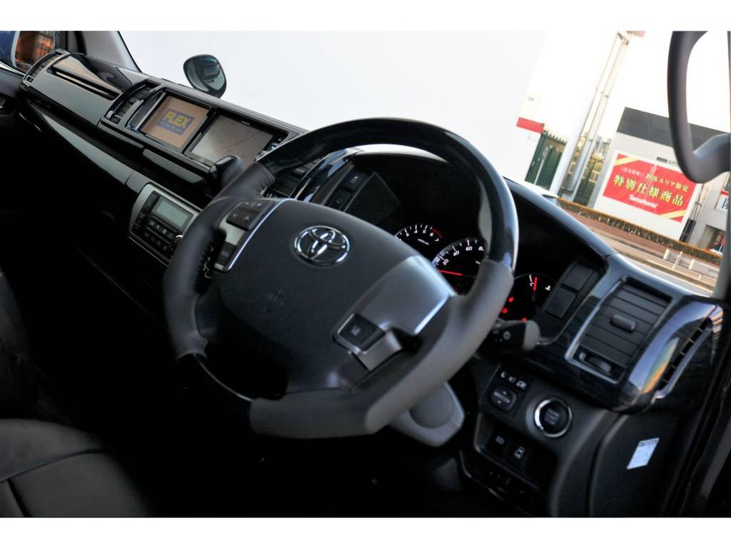ステアリングは握りやすいガングリップタイプ!!   トヨタ ハイエース 2.7 GL ロング ミドルルーフ TSS付アレンジA