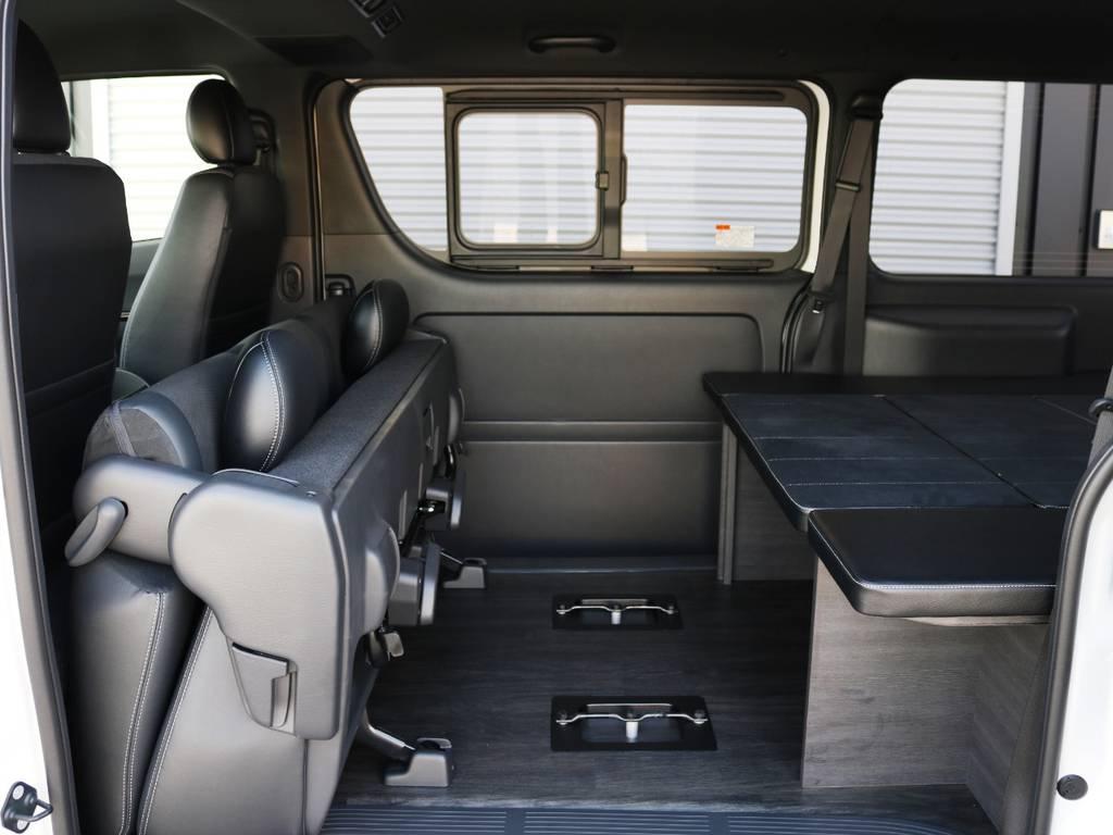 セカンドシートは跳ね上げ収納が可能です! | トヨタ ハイエースバン 2.0 スーパーGL ダークプライムⅡ ロングボディ 内装Ver4D/P