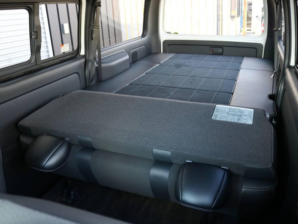 使い勝手の良いベッドキット付き、当社内装アレンジ【Ver4】! | トヨタ ハイエースバン 2.0 スーパーGL ダークプライムⅡ ロングボディ 内装Ver4D/P