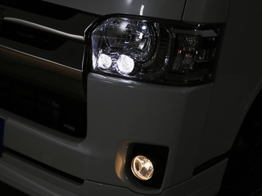 ダークプライムⅡ専用装備 クリアスモークLEDヘッドライト! | トヨタ ハイエースバン 2.0 スーパーGL ダークプライムⅡ ロングボディ 内装Ver4D/P