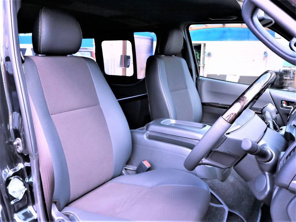 高級感のあるハーフレザーシートはダークプライムII標準装備です!   トヨタ ハイエースバン 2.0 スーパーGL ダークプライムⅡ ロングボディ D/PⅡ小窓付き