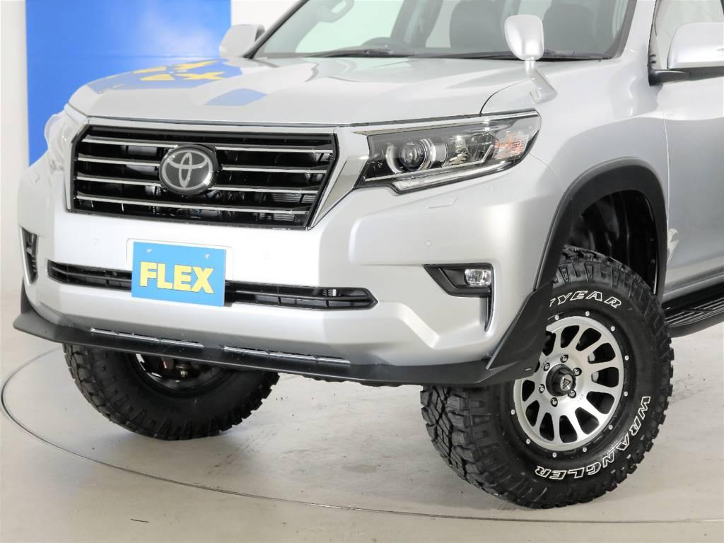 FLEXオリジナルフロントグリル☆ | トヨタ ランドクルーザープラド 2.8 TX ディーゼルターボ 4WD 7人 試乗車 2インチUP